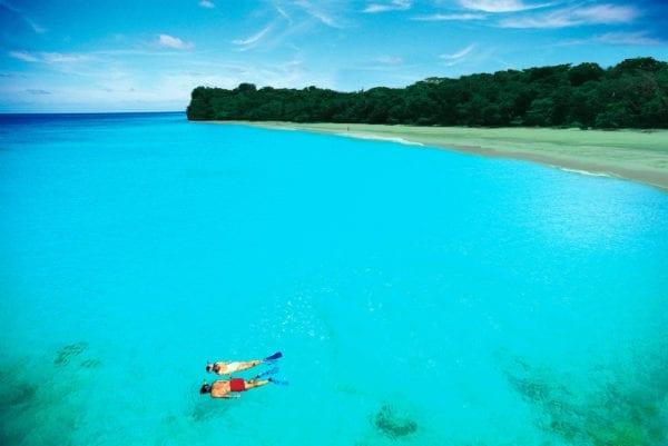 Snorkeling in waters so clear...
