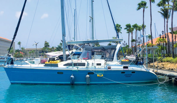 Our yacht Honeymoon Forever on the dock and safe and sound in Aruba's Renaissance Marina. Photo by Robert Scott