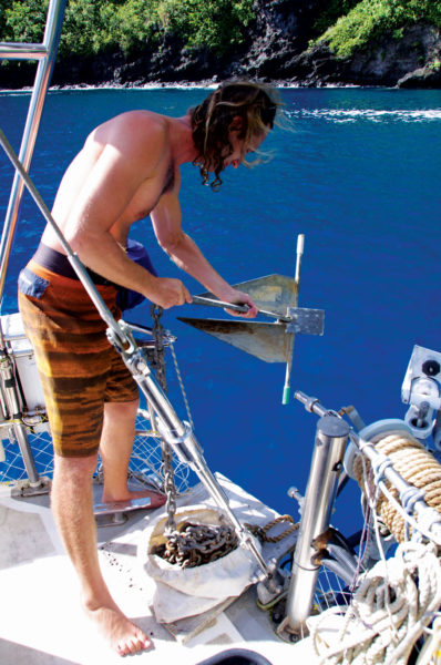 Anchoring Tactics sometimes demand creativity. Preparing to deploy a stern anchor. Photo by Birgit Hackle