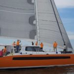 The Balance 526, which won Cruising World's Import Boat of the Year in 2017, is looking truly amazing with her sharp, wave piercing bows, and her eye-catching orange hulls.