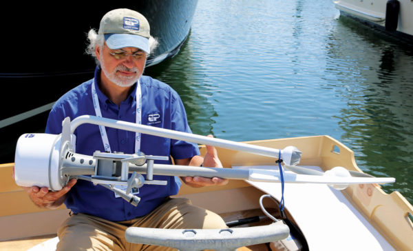 The EP Carry, by North Bend, WA-headquartered PropEle Electric Boat Motors, weighs 14-pounds, comes with a buoyant battery pack that is under 7 pounds, and has a 3- to 6-mile range per charge with speeds of 3.5- to 4.2-knots.