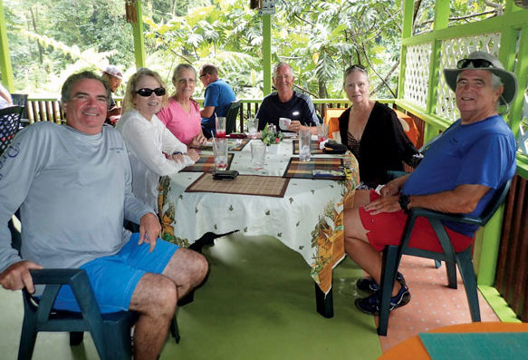 Tom and Barbara Jacobs and fellow cruisers with a tour group at River Rock Café, as part of PAYS Yachtie Appreciation Week, 2016. Thomas Jacobs