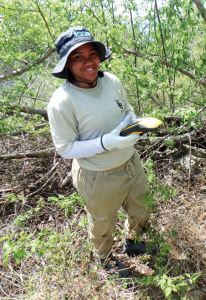 Tiara DaCosta is a UVI student working on the project. Photography courtesy of Dr. Meredith Hardy
