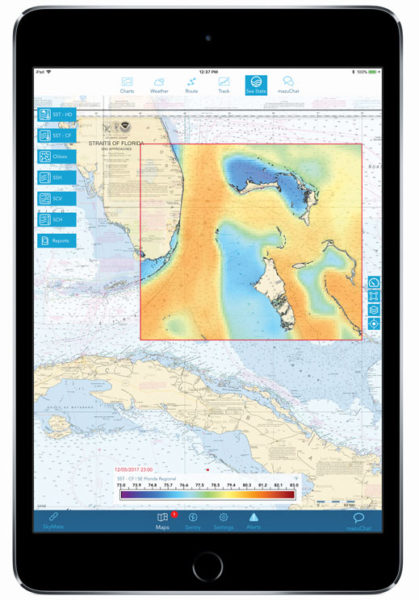 The mazu SportFishing app, by Ontario, Canada's mazu Marine, links the company's m2500 hardware to offer global service using the Iridium satellite network.