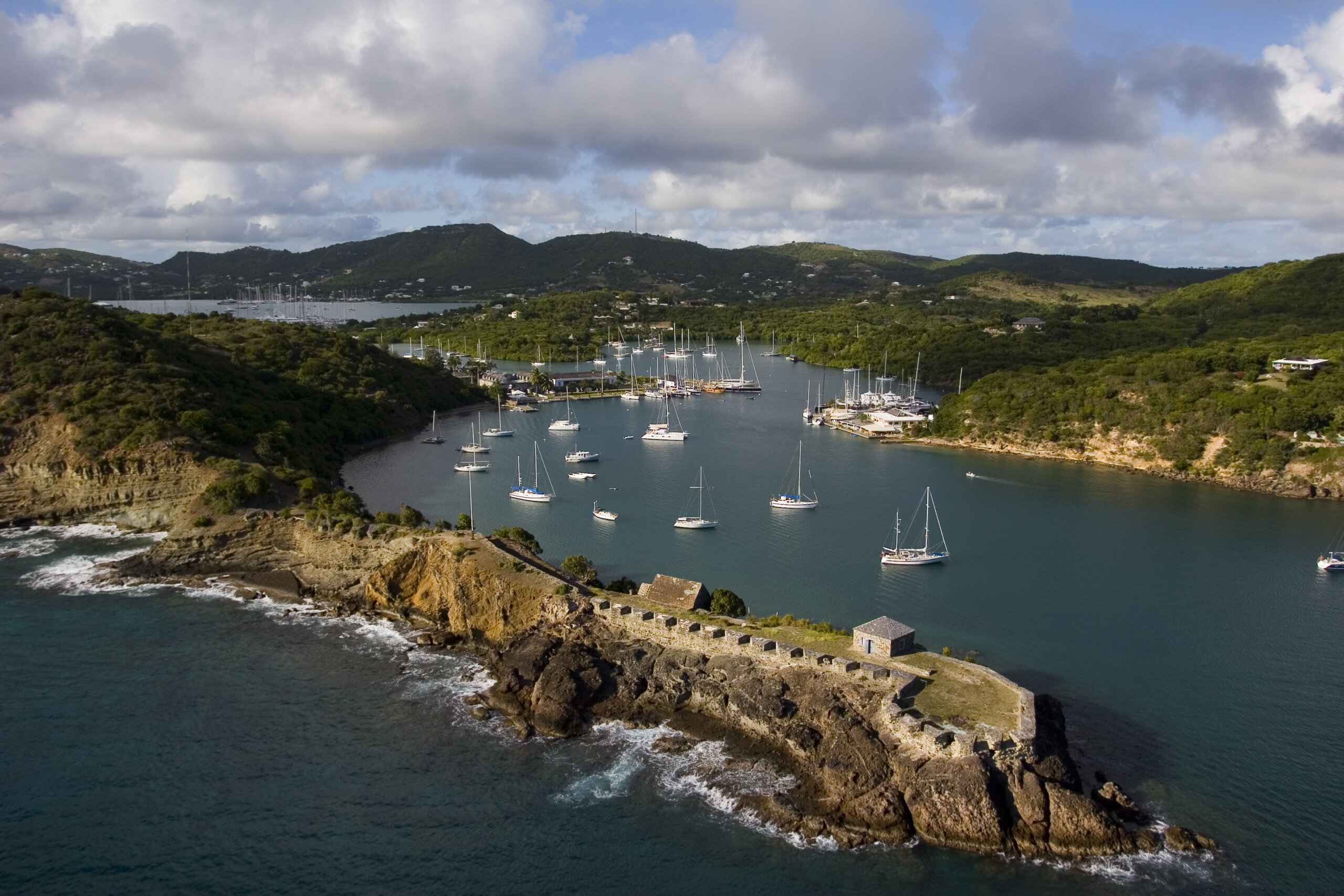 Entrance to English Harbour Antigua showing Nelson's Dockyard and the Antigua Slipway