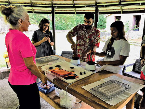 Victoria Lehrer (left) shows Arjun Verma (second from right) and Nikki Barnes of St. Thomas (far right) how to make real chocolate.
