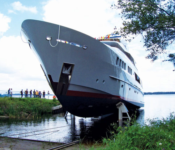 A new yacht being launched at a shipyard in Florida. Courtesy of Capt. Jeff Werner