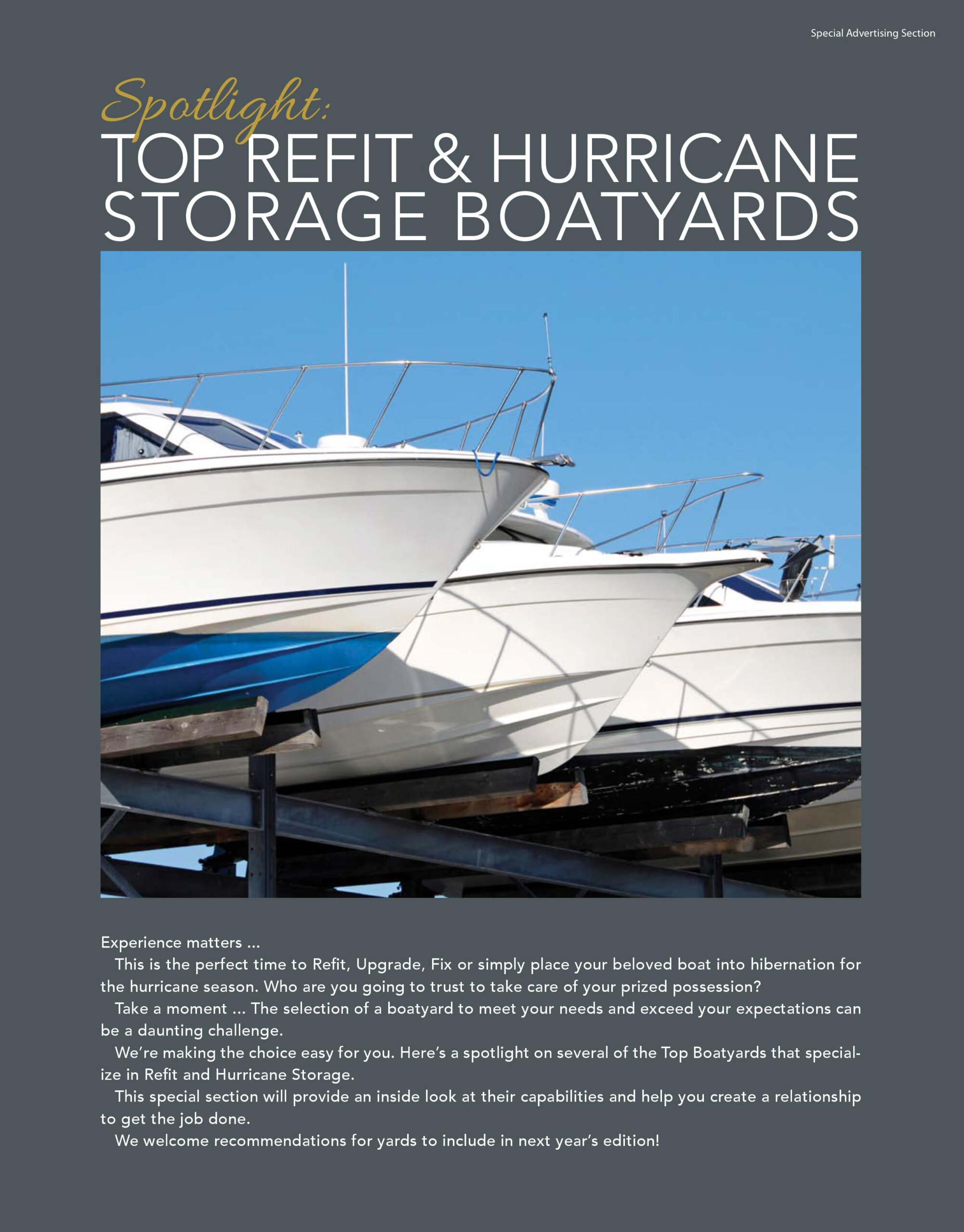 Top Refit & Hurricane Storage Boatyards / Shipyards 2019