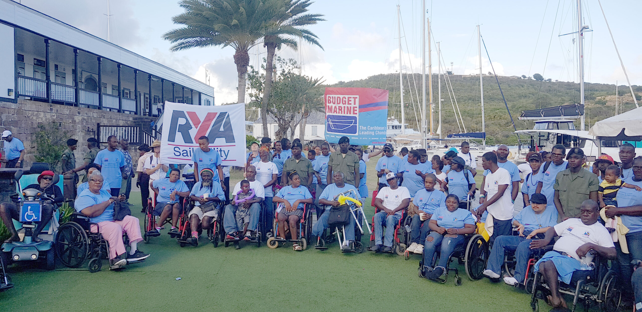 Nearly 350 people walked from the National Sailing Academy through English Harbour to Nelsons Dockyard. Most of the walkers were from the disabled community of Antigua with all manner of disability.