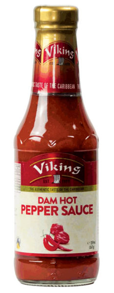 Viking Dam Hot and Hot Sauces.