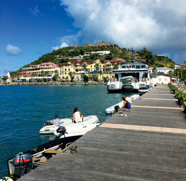 Marigot Waterfront, looking up at Fort Louis. Credit Dean Barnes