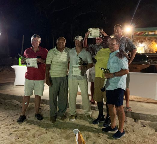 Abigail III, winner of Marlin University's 2019 Scrub Island mini-tournament. (l to r) Mark Gray, Capt Red Bailey; Brian Konowalchuk, Kenneth Crockett, Ray Peterson and Robert Rego. Credit: Jennifer Dudas/Marlin University