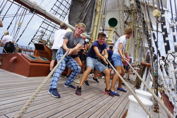 youngsters doing sail training