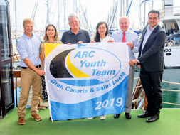 (L-R) Nick Martin, ARC Event Manager / Gabriella Diaz-Saavedra, HR Director at Astican / Pedro Quevedo, Minister for Tourism / Ariana Lorenzo ARC Youth Team Crew / Andrew Bishop, Managind Director World Cruising Club / Ricardo Garcia, Head of Business Dvlpt at Peninsula Yacht Services