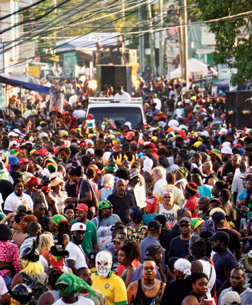 Packed streets on J'ouvert Morning