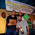 Top Boat Winner, Gypsea King. L to R: VIGFC President Kelvin Bailey, Jr., Walt Basnight, Jared Buckstein (in front), Zac Wooden; VIGFC Board of Director, Kevin Haddox. Credit: Dean Barnes