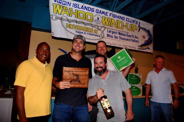 Top Boat Winner, Gypsea King. L to R: VIGFC President Kelvin Bailey, Jr., Walt Basnight, Jared Buckstein (in front), Zac Wooden; VIGFC Board of Director, Kevin Haddox. Credit: Dean Barnes