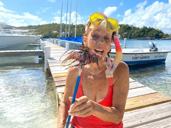 Capt. Jan Robinson and her prized Lionfish Catch!