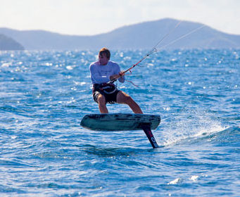 Kiteboarder Mike Hirst set a new record for the Nanny Cay Challenge. © Broadsword Communications