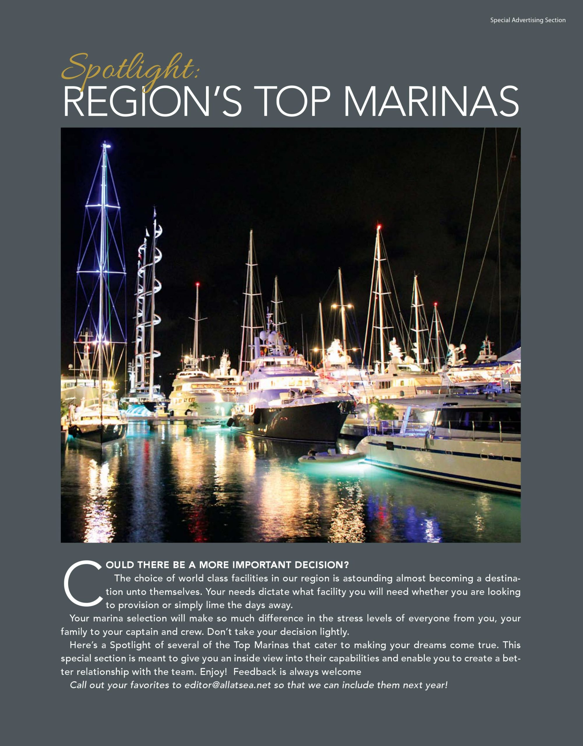 All At Sea - Top Marinas 2019