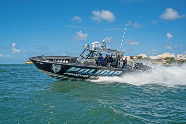 The new patrol boat is a 36 Fearless stepped-bottom center console vessel built at Metal Shark's Jeanerette, Louisiana USA production facility and custom-configured to meet the specialized requirements of the San Juan Police Department