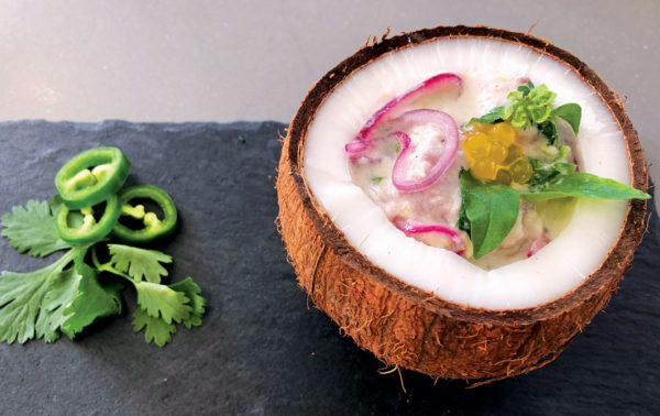 Fish Ceviche with Coconut Milk and ginger by Chef Fabiola Hirschhorn, Yacht Luna