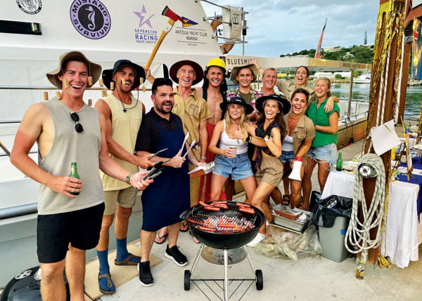 Back row, left to right: Deckhand Mitchell Coldicutt, Bosun George Cuthbertson, Chef Tim Roszak, Captain Simon Ladbrooke, Deckhand Tom Rosengreen, 2nd Engineer Reece Gladys, Chief Officer Tristian Mather, Stewardess Jemma Columbus, Deckhand Tessa Sievers. Front row: Stewardess Peta Harding, 2nd Stew Janelle Smith, Chief Stew Samantha Klepper