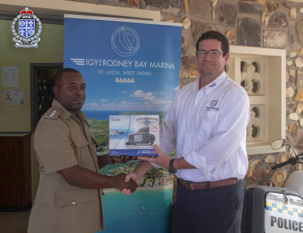 IGY Rodney Bay Marina Donation L to R Elvin Thomas, Assistant Superintendent of Police from the Gros-Islet Police Station and Sean Devaux IGY Rodney Bay Marina Operations Manager