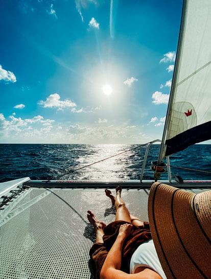 Relaxing sun filled sail
