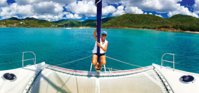 Hostess Margot having fun on the jib