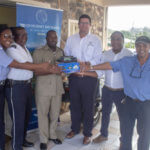 L to R TwoGros-Islet Police Station officers, Elvis Thomas, Police Assistant Superindendent, Sean Devaux, Shane Macauldy, Milton McKenzie, marina boatyard supervisor