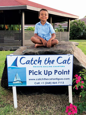Our new Pick up sign - with Grandson Kai