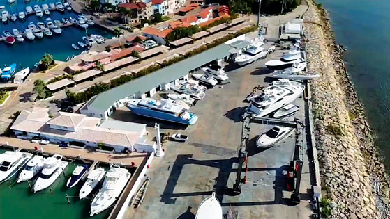 Aerial view of IBC Shipyard for boat repair in Dominican republic