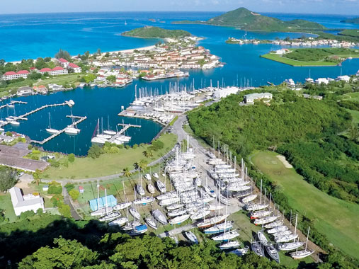 Aerial view of Jolly Harbour Boatyard & Marina for boat repair in Antigua