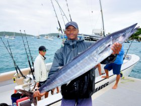 Keith Terry Jr holds his winning Largest Wahoo, a 29-pounder, in the VIGFC Wahoo Windup - Credit Dean Barnes