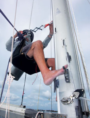 Fatty riviting—note large stainless pads for previous roller furling mainsail