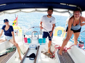Students on board Chao Lay for their practical Day Skipper course after completing virtual quarantine theory. Photo courtesy of Grenada Bluewater Sailing