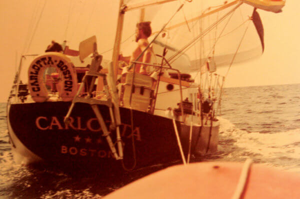 Fatty Goodlander on Carlotta (the boat he built) on his way to St. Thomas in 1979.
