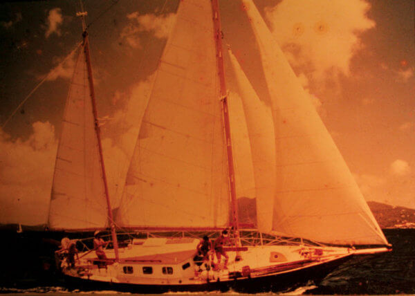 Carlotta, the 36-foot ketch that Fatty and his wife Carolyn built in 1971 in Boston.