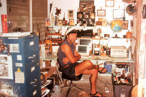 Cap'n Fatty's palatial office in a bomb shelter on St. John.