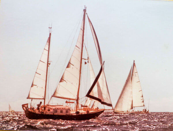 Carlotta under sail in late 1980s in the Caribbean.